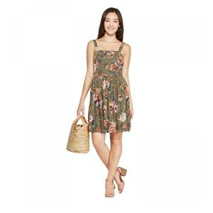 Floral Print Sleeveless Pleated Bottom Mini Dress